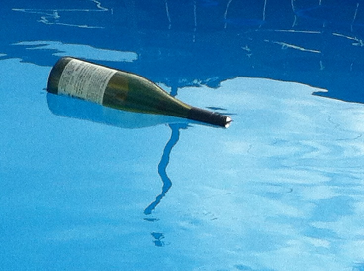 An empty bottle in our pool - flaskepost!