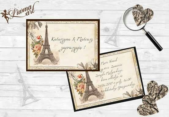 www.liwmaart.pl👰💕👌 #weddingcard #invitation #wedding #paris #retro #vintage #zaproszenie #ślub #paryż
