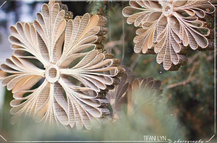 Enfeite de Natal, flocos de neve feito com papel | Cacareco
