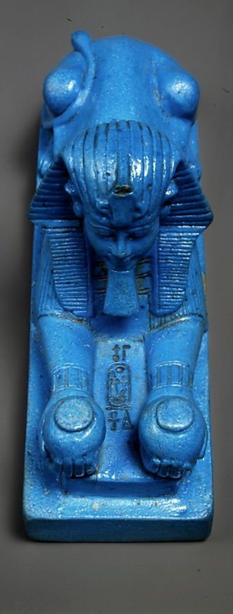 Faience Sphinx of Amenhotep III, New Kingdom,  Dynasty 18,  ca. 1390–1352 B.C. at The MET.