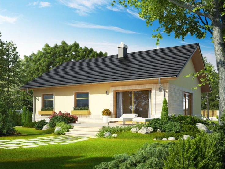 Dom parterowy, niepodpiwniczony, przeznaczony dla 3-4-osobowej rodziny. Dopracowany układ funkcjonalny domu harmonijnie koresponduje z pełnym wdzięku wyglądem zewnętrznym. Symetrię budynku podkreślają dwa zewnętrzne okna oraz lampy, oświetlające strefę wejściową, która została zaakcentowana zgrabnym łukiem. Całość dopełnia ciepła, przyjazna kolorystyka elewacji.