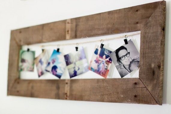 Easily updated photo display made from pallet wood, twine, and clips. Love it! (from The Snap Academy via Going Home to Roost.)