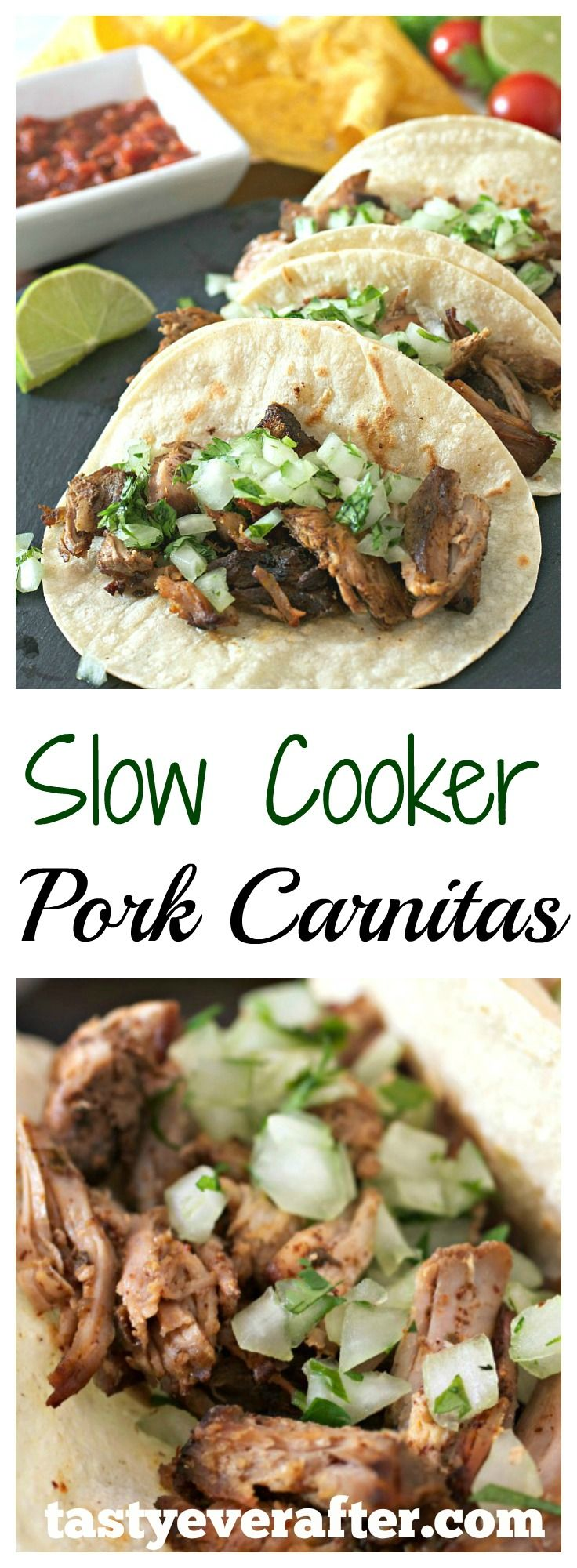 The EASIEST recipe for Slow Cooker Pork Carnitas ever!  Tender and flavorful pieces of crispy pork that just melt in your mouth.
