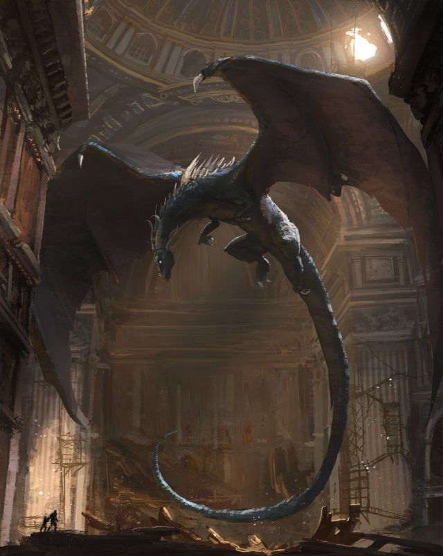 Dragons in libraries. This is beautiful. Look at all the lighting and tiny details.