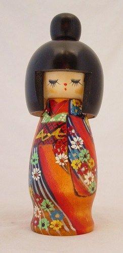 "Colorful Kimono Japanese Kokeshi Doll Wood 8"" Signed Hand Painted"