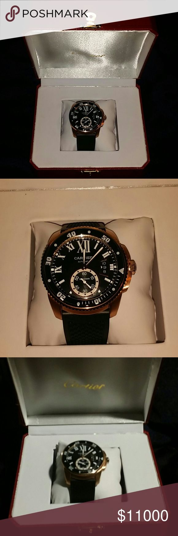 Mens Cartier watch Mens calibre De cartier diver 42mm automatic Rosewood gold  In original box Cartier Accessories Watches