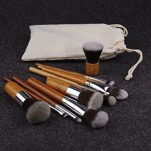 11 PCS Bambu Pincéis de Maquiagem Definir a Sombra de Olho Profissional Brochas maquiagem Maquillage Pinceaux Fundação Kabuki Pincel de Blush Suave(China (Mainland))