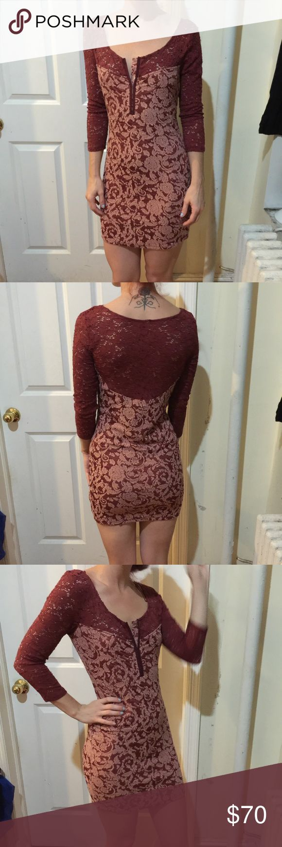 FREE PEOPLE Magic Carpet Crochet Bodycon Dress FREE PEOPLE Magic Carpet Crochet Bodycon Dress in a size small. top has crochet red sleeves and hook and eyes in the middle center. Body is stretchy like and felty fabric. Super soft and worn twice. Free People Dresses Long Sleeve