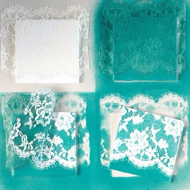 DIY coasters - also love the idea of spray paint over lace/doilies as a texture in general.