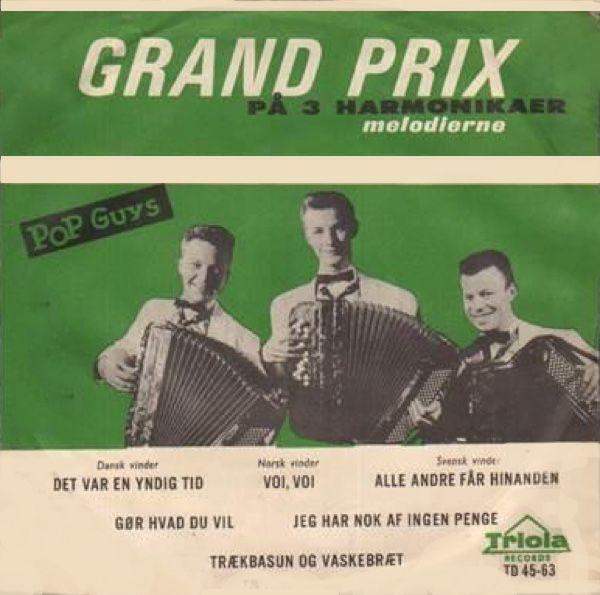 """""""Grand Prix på 3 harmonikaer"""".   Har singlen men har ikke omslaget.   Herlig Grand Prix-musik på 3 harmonikaer."""
