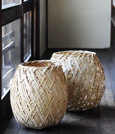 Sturdy random woven bamboo baskets by Ryozou Otavia Analogue Life