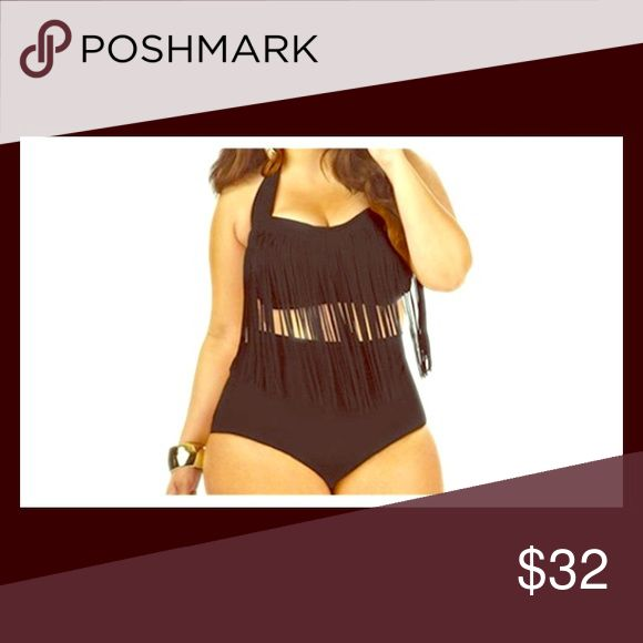 Plus size Black top fringe Beautiful sexy fit fringe bathing suit just the top 2x Swim