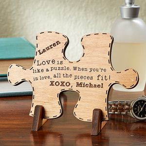 """This is BEAUTIFUL! It's the """"Perfect Match"""" Wood Puzzle Piece keepsake from PMall - you can pick from 3 beautiful quotes and have it engraved with your names and any message - great wedding gift or Valentine's day gift idea ... or great 5th Anniversary Gift idea because """"Wood"""" is the traditional 5th anniversary gift!"""