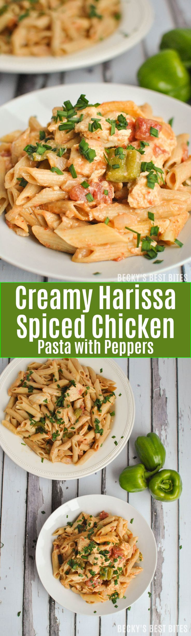 Creamy Harissa Spiced Chicken Pasta with Peppers is a healthy dinner recipe perfect for any weeknight meal. It is bursting with the flavors of a special hot sauce made with vegetables and chiles seasoned with coriander, caraway, and garlic; and tamed by the creaminess of greek yogurt. | beckysbestbites.com