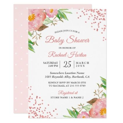 Blush Pink Watercolor Floral Chic Bridal Shower Card - #chic gifts diy elegant gift ideas personalize