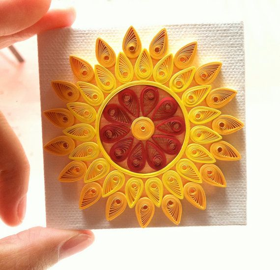Sun Paper Art / Mini Canvas / Quilling by SimplyQuilledDesigns