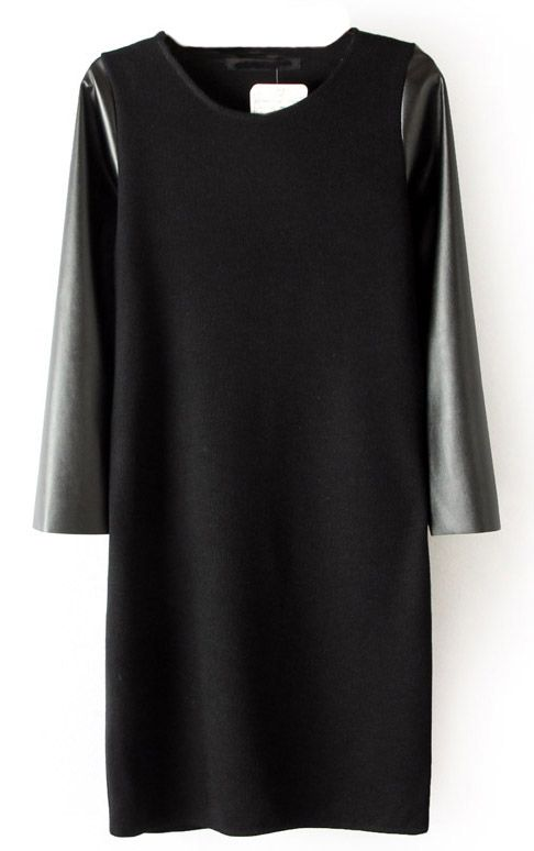 Black Contrast PU Leather Sleeve Dress - Sheinside.com