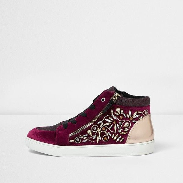 River Island Dark red gem embellished hi top sneakers ($120) ❤ liked on Polyvore featuring shoes, sneakers, red, shoes / boots, women, lace up sneakers, red high top sneakers, high top shoes, red sneakers and zip high top sneakers