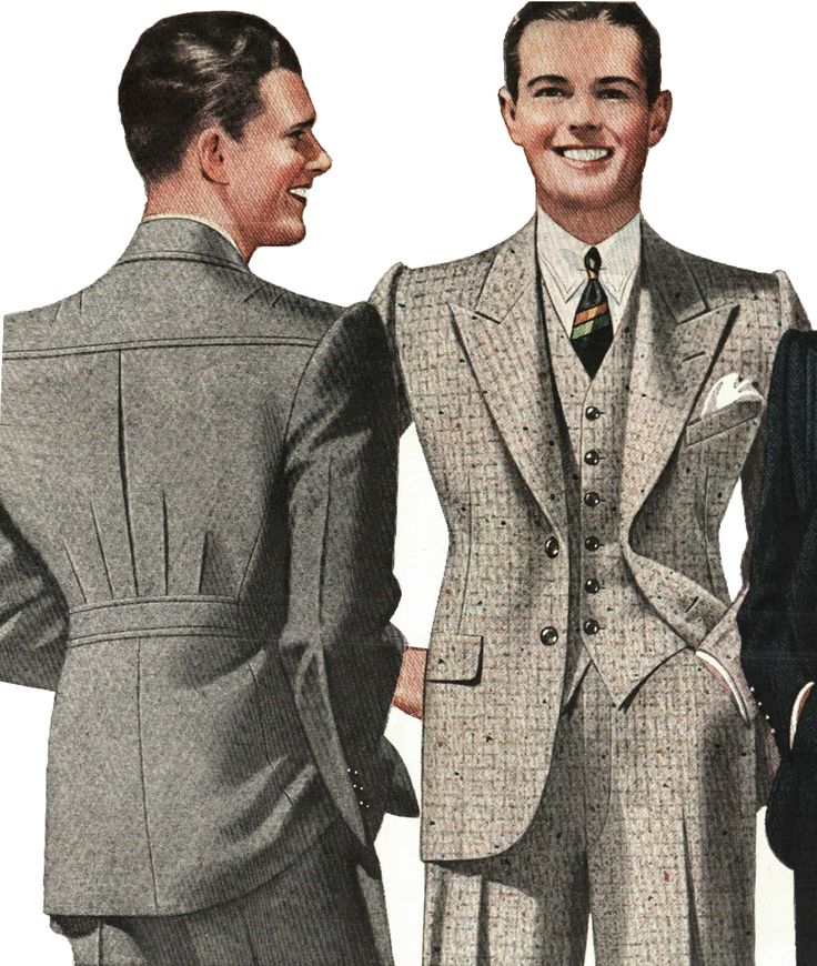 1930s style blazer men suit sportswear wool tweed jacket pants color illustration print ad vintage fashion style grey brown
