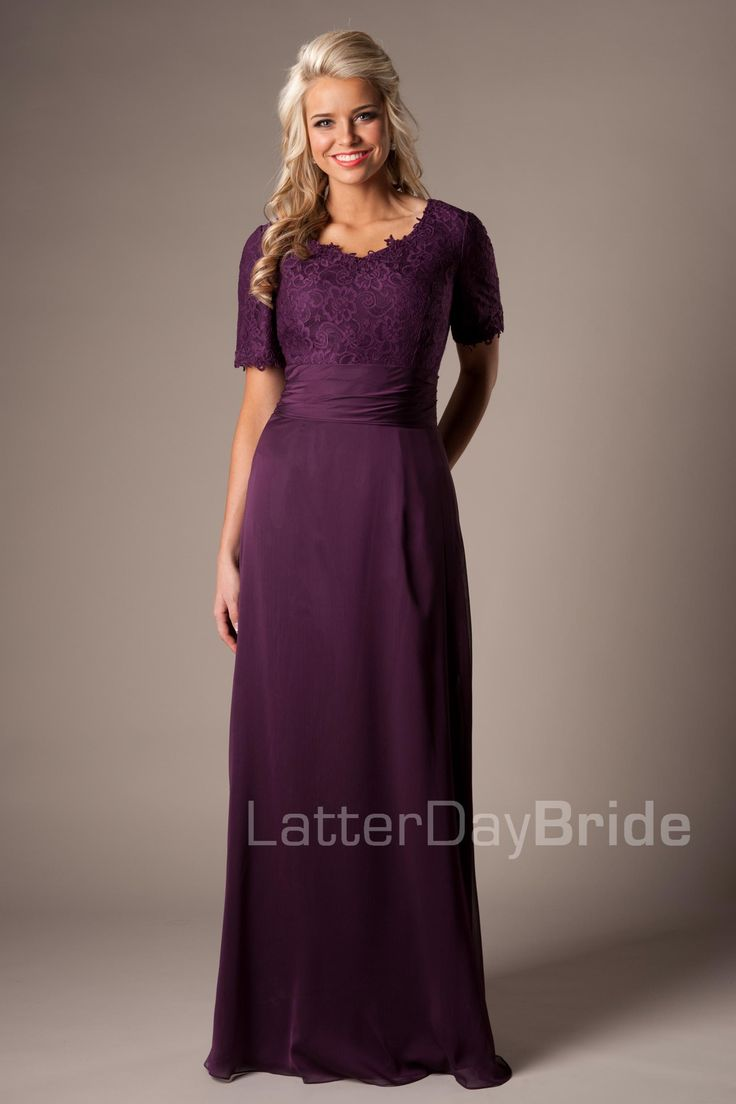 Modest Purple Mother of the Bride Dress #motb