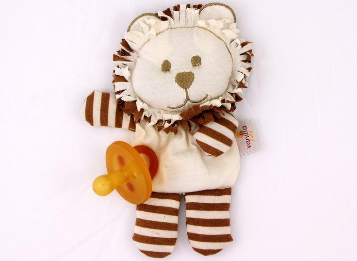 Lion Dummy Pocket Ivory w/ Brown Stripes  #OrganicCottonSoftToys  http://www.vanillababy.com.au/shop/soft-toys/lion-soft-toy-dummy-pocket-ivory-with-brown-stripes/