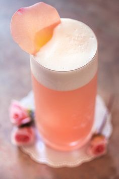Raspberry #Rose Fizz with #Rosewater _ (May substitute Raspberry Syrup for liqueur framboise, and Sparkling Water for gin.)