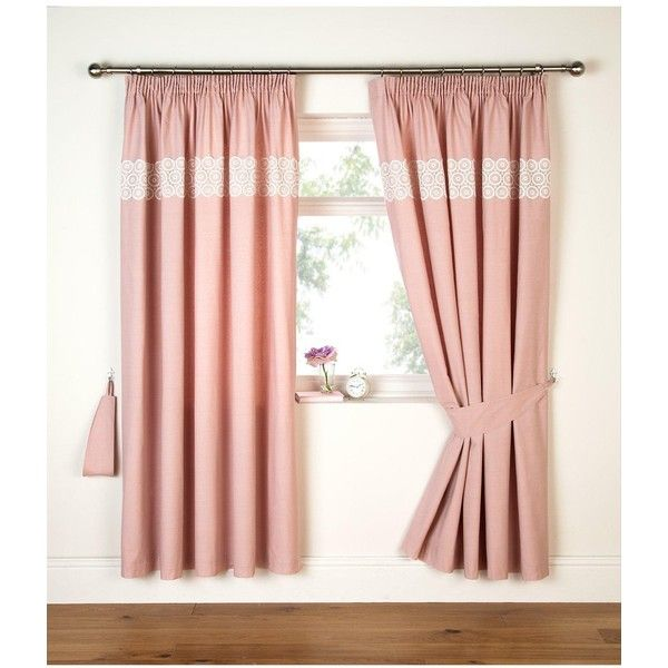 Floral Geo Applique Pleated Curtains In Pink ($59) ❤ liked on Polyvore featuring home, home decor, window treatments, curtains, patterned curtains, floral pattern curtains, track curtains, pink panel and duck curtains