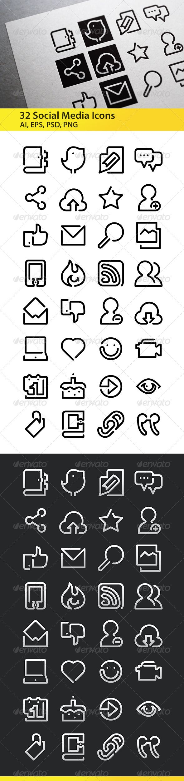 Social Media - One Line Icons  #GraphicRiver         Set of 32 Social Media Icons, great for presentations, web design, mobile applications or any type of design projects.  	 The pack contains EPS, AI, PSD, JPEG files and transparent PNG for each icon (128×128 pixels).  	 More icons will come soon!                     Created: 25 November 13                    Graphics Files Included:   Photoshop PSD #Transparent PNG #JPG Image #Vector EPS #AI Illustrator                   High Resolution…
