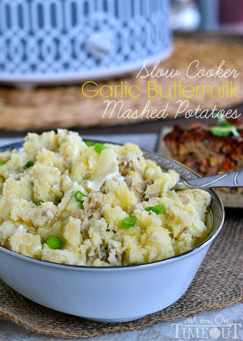 Slow Cooker Garlic Buttermilk Mashed Potatoes for nights when dinner needs to be fast, easy and delicious! | MomOnTimeout.com #slowcooker #potatoes
