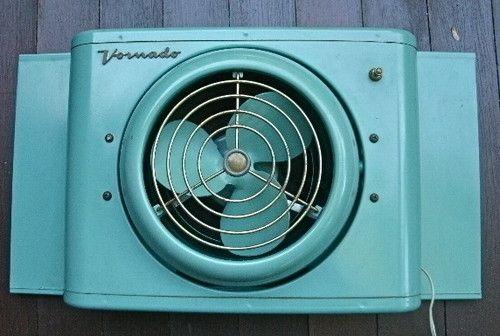 16T 2 Atomic Age 1950's Aqua Vornado Window Fan Mid Century