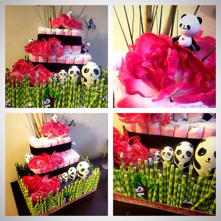 Baby shower diaper cake panda theme baby panda diaper for Dekoration fur babyparty