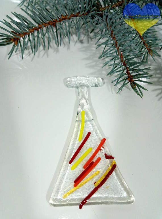 House Glass Decor Fused Glass Christmas Ornaments Holiday