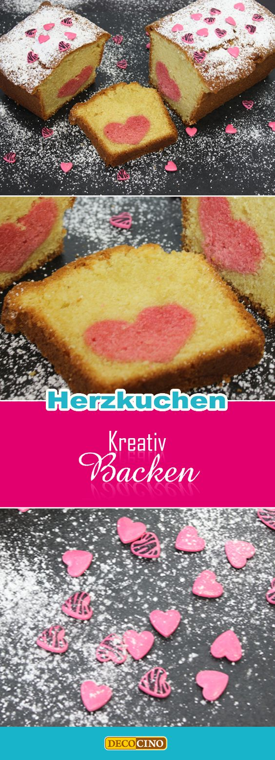 Der Kuchen im Kuchen - Rührteig mit Lebensmittelfarbe rot färben, aus dem gebackenen und ausgekühlten Kuchen Herzchen ausstechen, Ausstecher-Herzchen auf eine Schicht hellen Rührteig setzen, setzlichen Rührteig darüber, nochmal backen. Der Cou: DECOCINO Zuckerherzen für die Deko obendrauf einfach mit Zuckerschrift aufkleben!