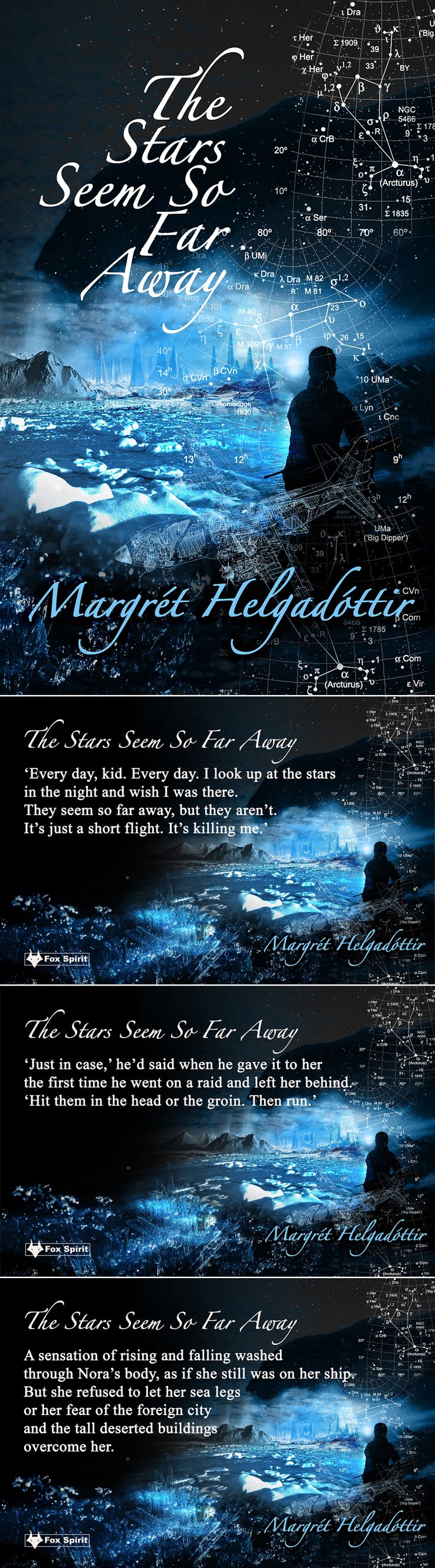 'The Stars Seem So Far Away' by Margret Helgadottir. Book cover design & promotional postcards for Fox Spirit Books.