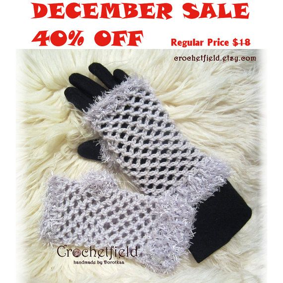 December Sale 40% OFF Lilac Crochet Mittens by Crochetfield