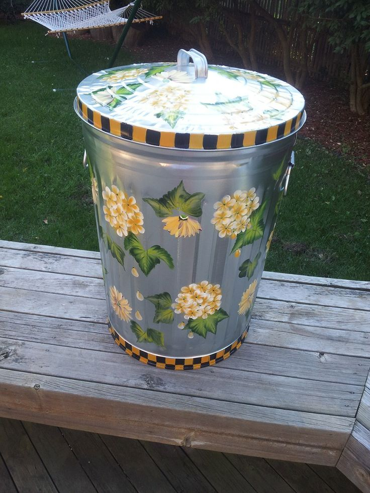 253 Best Hand Painted Trash Cans Images On Pinterest