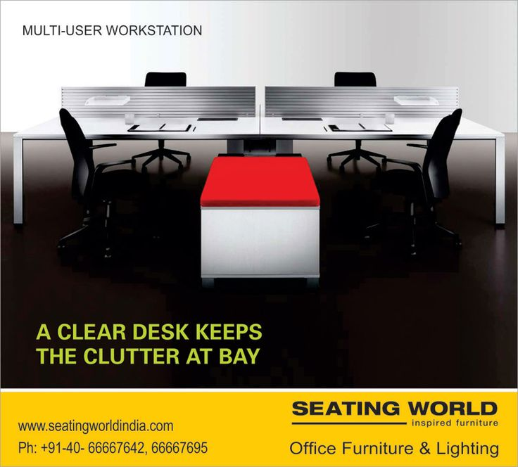 MULTI-USER WORKSTATION. A CLEAR DESK KEEPS THE CLUTTER AT BAY. ‪#‎OfficeFurniture‬ ‪#‎OfficeLighting‬ ‪#‎Hyderabad‬ SEATING WORLD: Office Furniture and lighting. E-mail: seatingwold@usa.net Sales Contact: office@seatingworldindia.com Ph: +91-40-66667642,66667695.