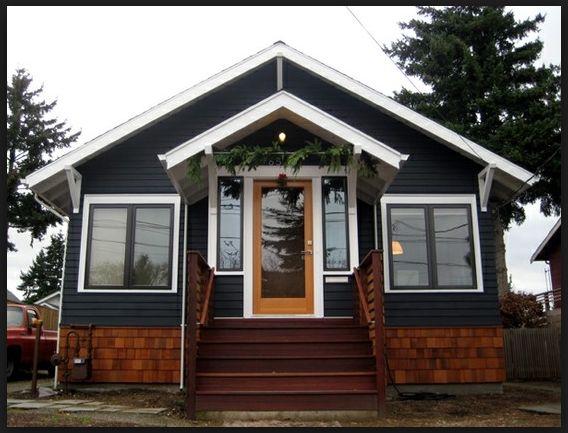 Dark Navy Siding And Wood Cedar Shingles Exterior Plans