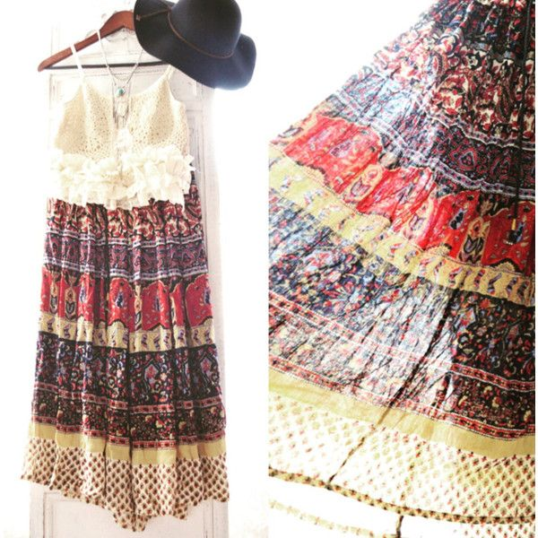 Boho Gypsy Slip Dress Bohemian Cowgirl Chocolate Brown Festival Dress... ($134) ❤ liked on Polyvore featuring grey, skirts and women's clothing