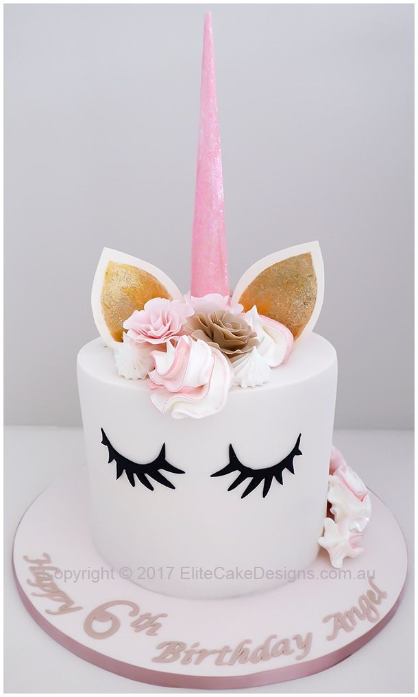 Elegant Unicorn Girls Birthday Cake Design