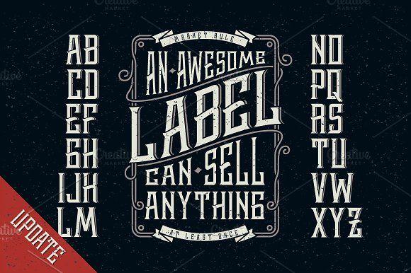 Whiskey label font + design elements by Gleb Guralnyk on @creativemarket