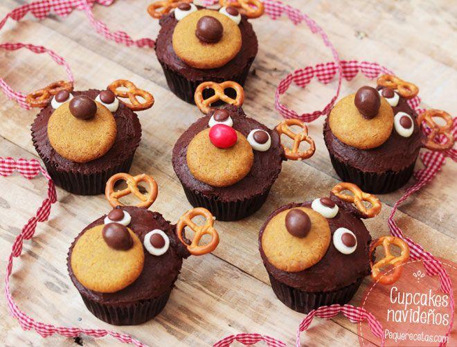 Dulces de Navidad, ¡cupcakes de chocolate navideños!                                                                                                                                                                                 Más