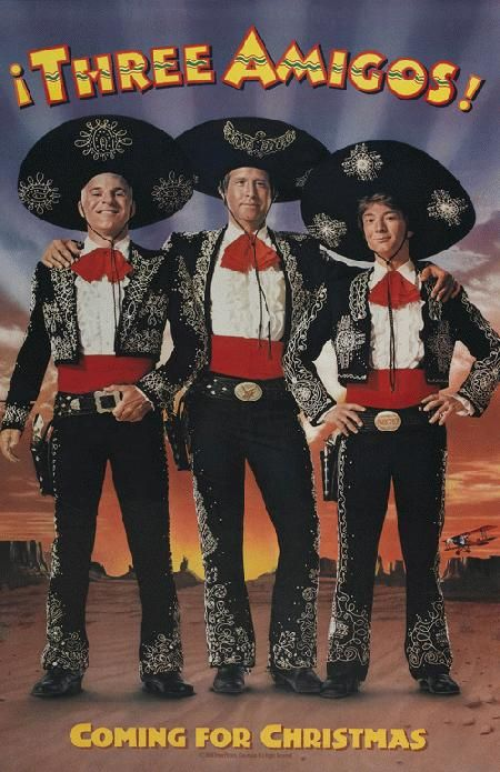 Movie poster for Three Amigos! starring Steve Martin, Chevy Chase and Martin Short from 1986. 11 x 17 high quality reproduction on card stock.