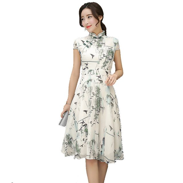 Fasbys Chinese Style Cheongsam Qipao Dress Stand Collar Traditional Women Satin Short Sleeve Print Bird Vestido Oriental Dresses
