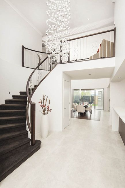 From the foyer to the stairwell of our custom design home. #homedecor #architecture #stairs