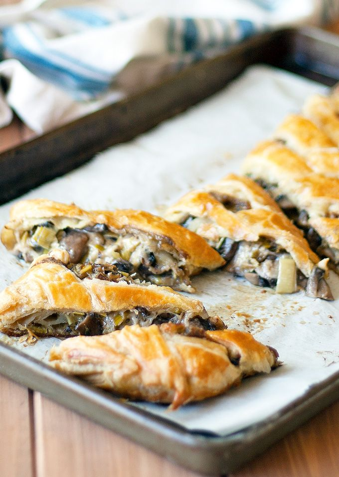 This swiss, leek and mushroom braid is an savory braided pastry stuffed with mushrooms, leeks, thyme of delicious swiss cheese. Easy to make and full of flavor!
