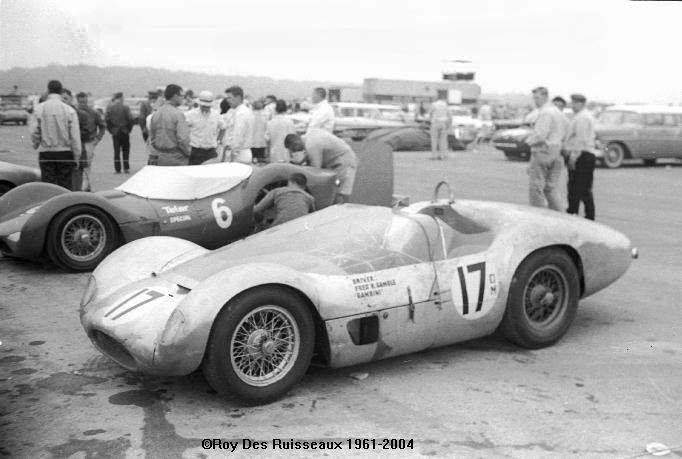 Maserati Birdcages . . Roger Penske's DuPont TELAR sponsored car in the background