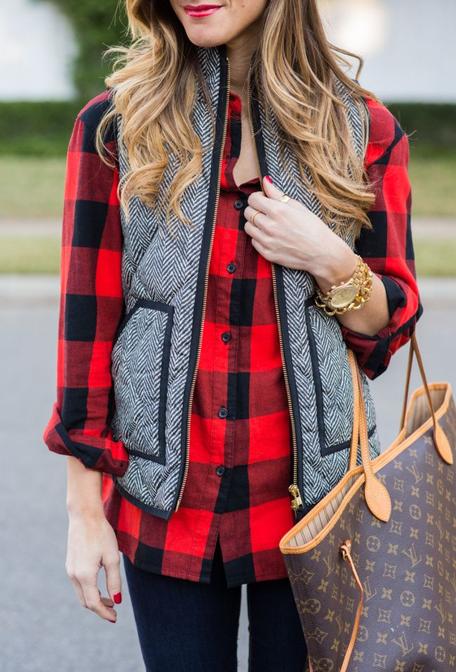Fall outfit idea with herringbone Puffer Vest + Red and Black Plaid Shirt mixing prints, puffer vest outfit, plaid shirt outfit