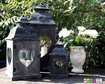 Laterne aus Holz und Metall - verschiedene Größen im Shabby Design, Landhaus