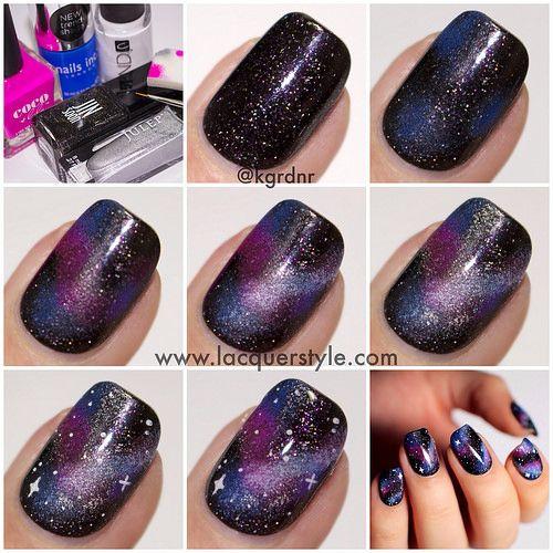 Galaxy Nails Tutorial: Cool Galaxy-Nails-Tutorial-Simple-Realistic Pretty Nails